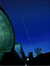 A view of laser beam emitted from the ground(National Institute for Environmental Studies)
